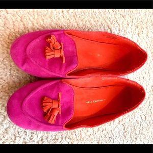Gap Electric Fuchsia & Orange Suede Loafers sz 10
